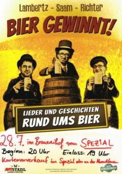Ausverkauft!!! Bier gewinnt! – Lieder und Geschichten rund ums Bier am 28.7.2016 im Spezial